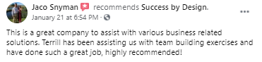 Jaco review on team builds for Success By Design