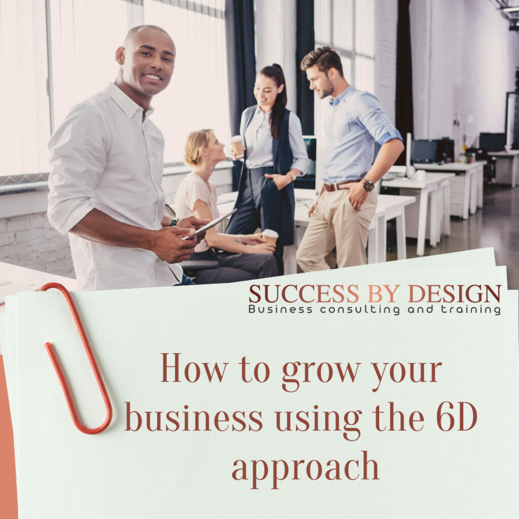 Success by Design has a customized business growth consulting method, the 6D approach to Business optimization